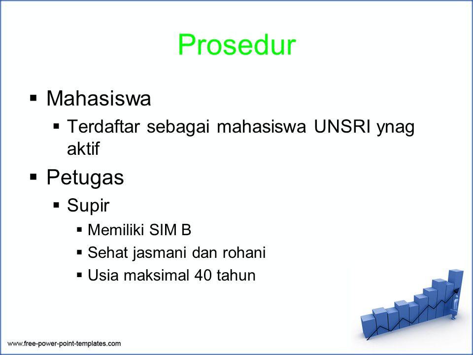 Prosedur  Mahasiswa  Terdaftar sebagai mahasiswa UNSRI ynag aktif  Petugas  Supir  Memiliki SIM B  Sehat jasmani dan rohani  Usia maksimal 40 tahun