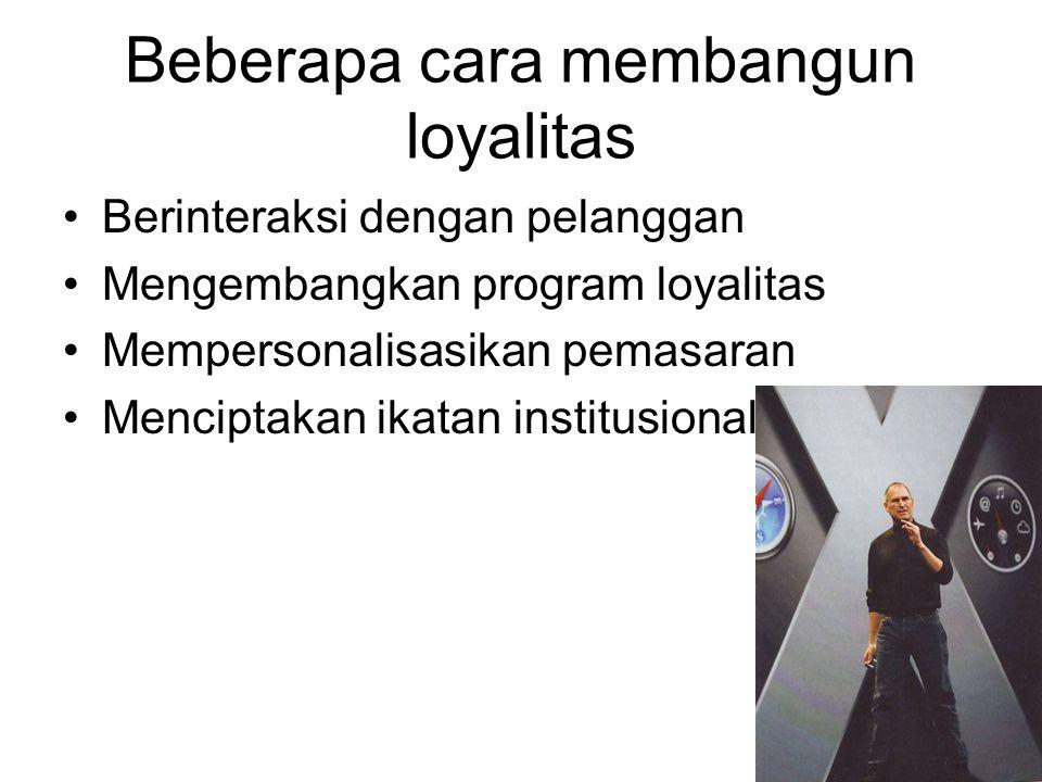 Beberapa cara membangun loyalitas Berinteraksi dengan pelanggan Mengembangkan program loyalitas Mempersonalisasikan pemasaran Menciptakan ikatan insti