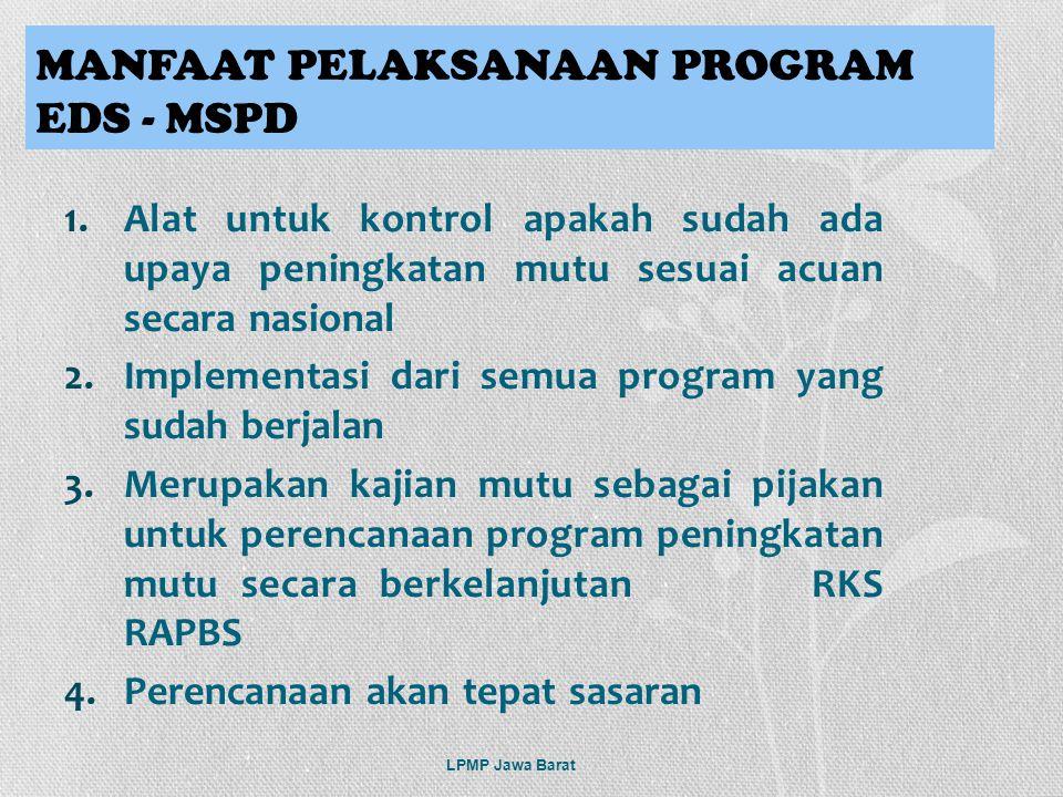 1.Alat untuk kontrol apakah sudah ada upaya peningkatan mutu sesuai acuan secara nasional 2.Implementasi dari semua program yang sudah berjalan 3.Meru