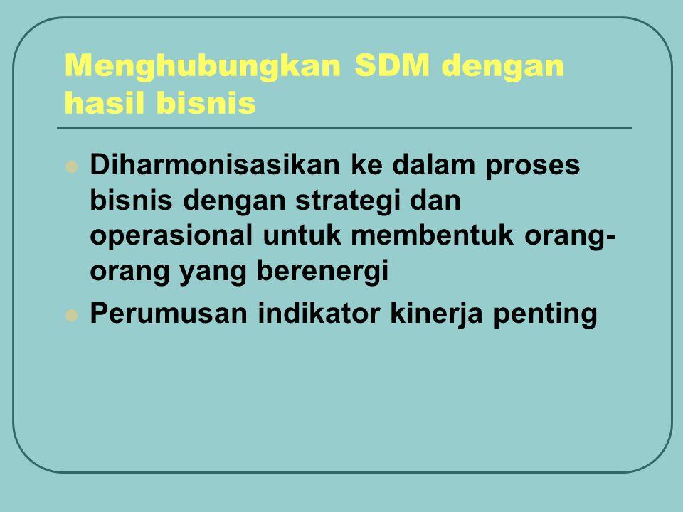Menghubungkan SDM dengan hasil bisnis Diharmonisasikan ke dalam proses bisnis dengan strategi dan operasional untuk membentuk orang- orang yang berene