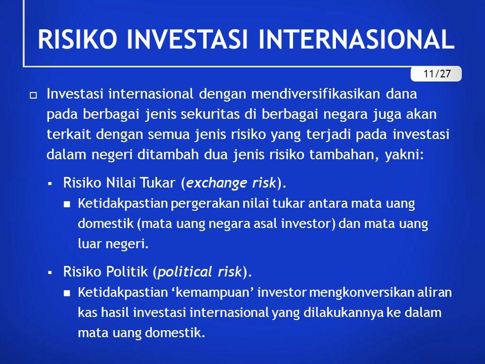 RISIKO INVESTASI INTERNASIONAL  Investasi internasional dengan mendiversifikasikan dana pada berbagai jenis sekuritas di berbagai negara juga akan terkait dengan semua jenis risiko yang terjadi pada investasi dalam negeri ditambah dua jenis risiko tambahan, yakni:  Risiko Nilai Tukar (exchange risk).