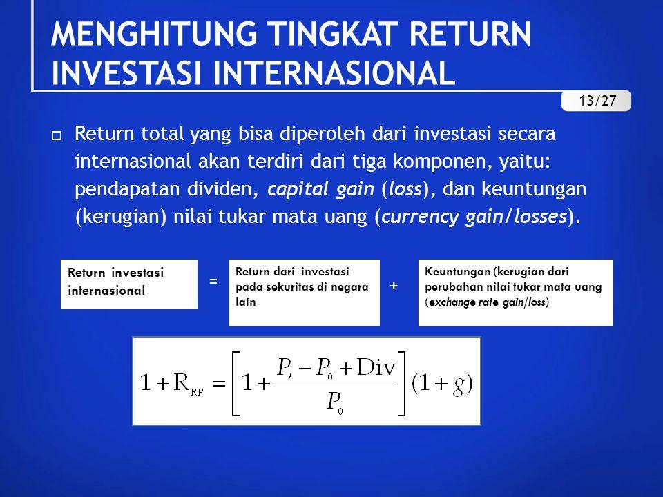  Return total yang bisa diperoleh dari investasi secara internasional akan terdiri dari tiga komponen, yaitu: pendapatan dividen, capital gain (loss), dan keuntungan (kerugian) nilai tukar mata uang (currency gain/losses).