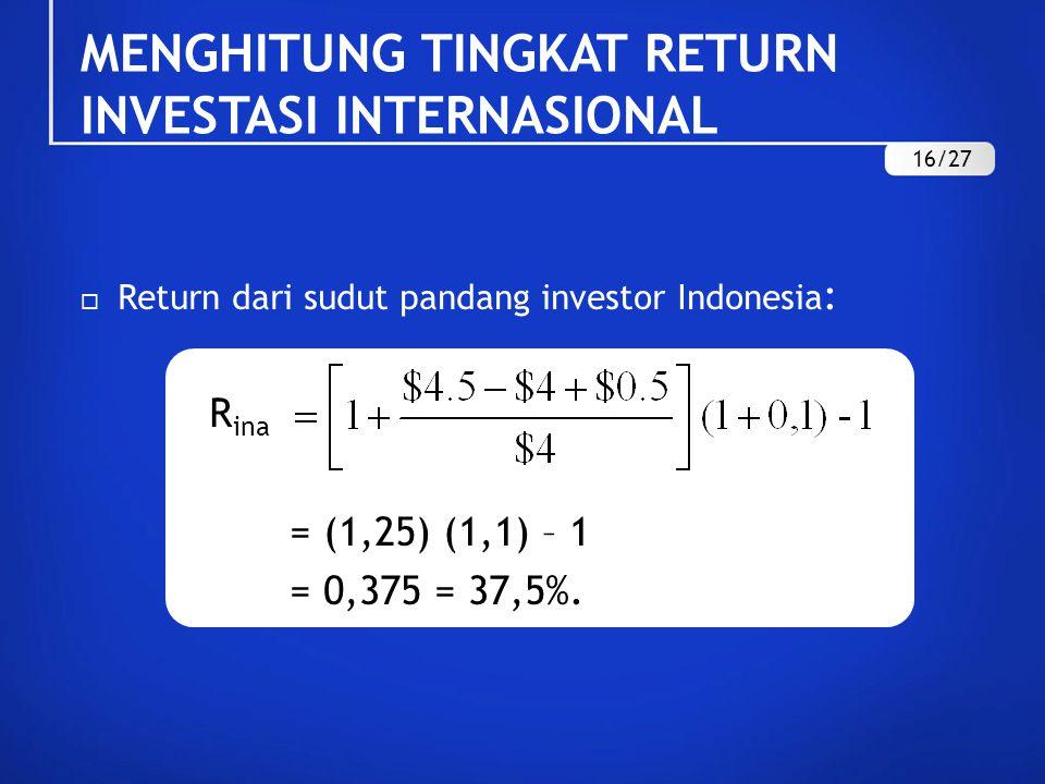  Return dari sudut pandang investor Indonesia : R ina = (1,25) (1,1) – 1 = 0,375 = 37,5%.