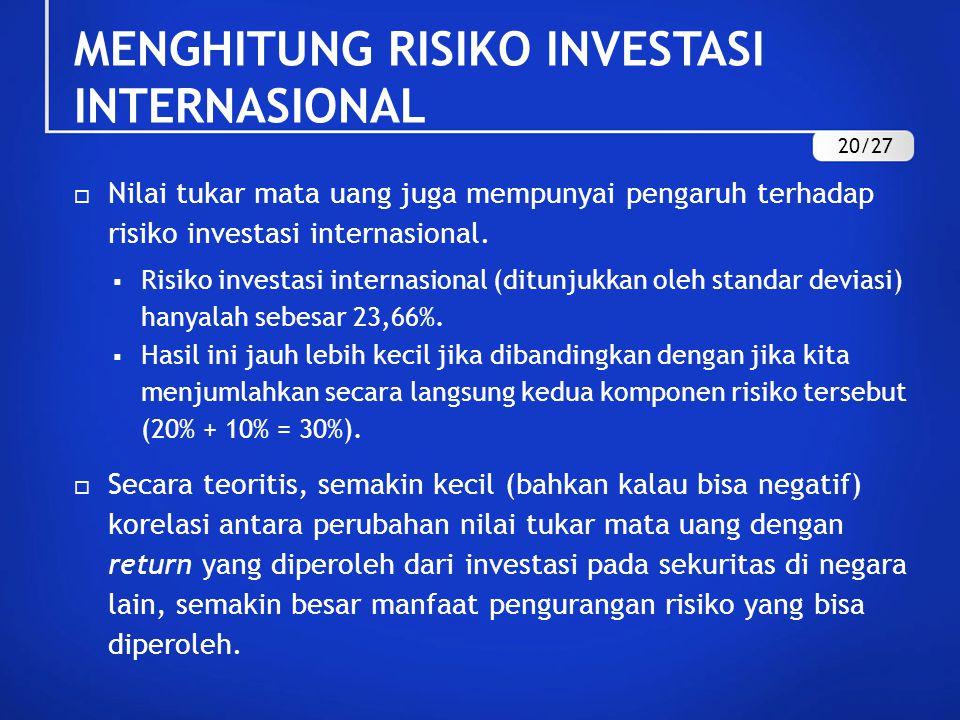  Nilai tukar mata uang juga mempunyai pengaruh terhadap risiko investasi internasional.