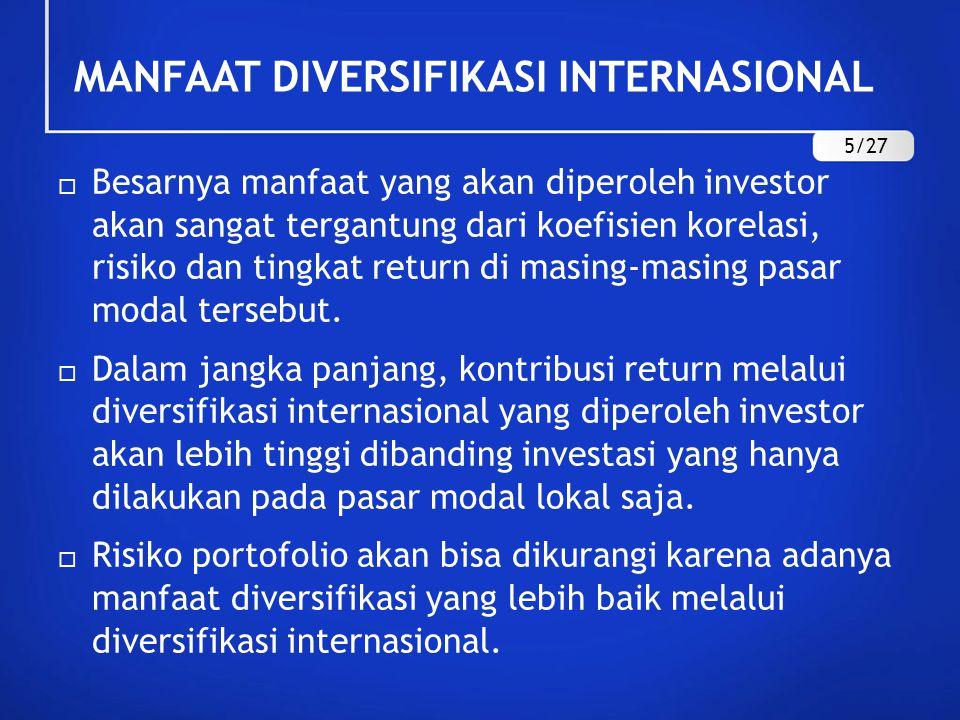 MANFAAT DIVERSIFIKASI INTERNASIONAL  Besarnya manfaat yang akan diperoleh investor akan sangat tergantung dari koefisien korelasi, risiko dan tingkat return di masing-masing pasar modal tersebut.