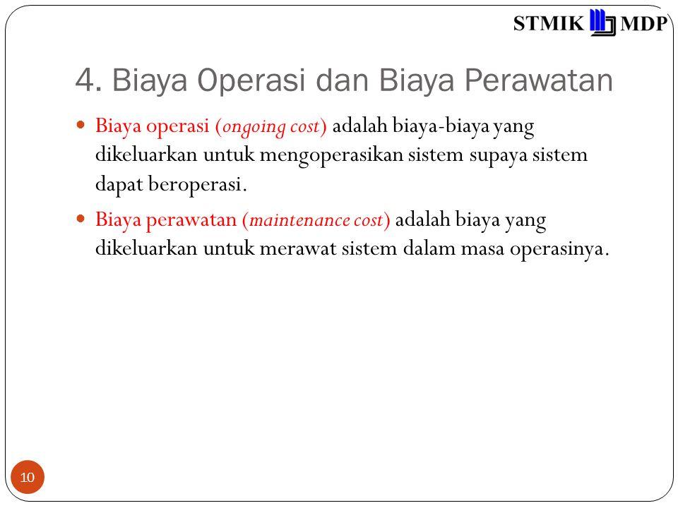 4. Biaya Operasi dan Biaya Perawatan 10 Biaya operasi (ongoing cost) adalah biaya-biaya yang dikeluarkan untuk mengoperasikan sistem supaya sistem dap