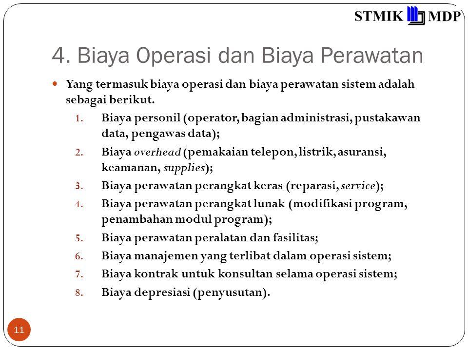 4. Biaya Operasi dan Biaya Perawatan 11 Yang termasuk biaya operasi dan biaya perawatan sistem adalah sebagai berikut. 1. Biaya personil (operator, ba