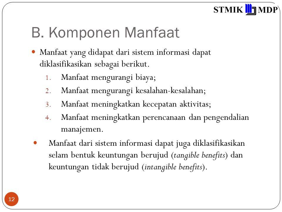 B. Komponen Manfaat 12 Manfaat yang didapat dari sistem informasi dapat diklasifikasikan sebagai berikut. 1. Manfaat mengurangi biaya; 2. Manfaat meng