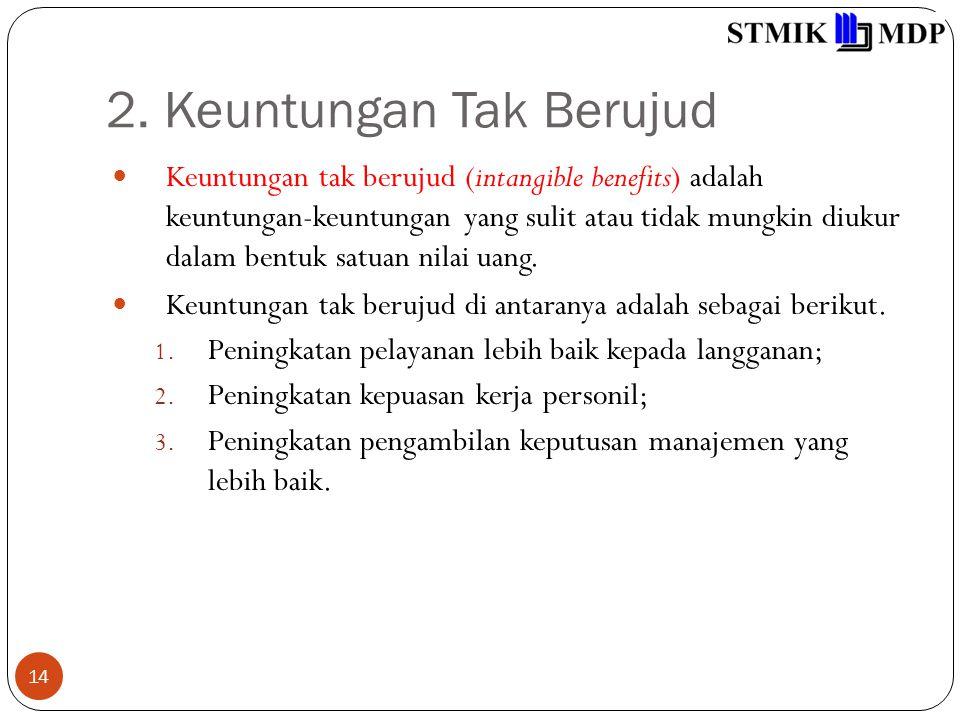 2. Keuntungan Tak Berujud 14 Keuntungan tak berujud (intangible benefits) adalah keuntungan-keuntungan yang sulit atau tidak mungkin diukur dalam bent