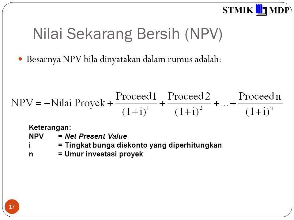 Nilai Sekarang Bersih (NPV) 17 Besarnya NPV bila dinyatakan dalam rumus adalah: Keterangan: NPV= Net Present Value i= Tingkat bunga diskonto yang diperhitungkan n= Umur investasi proyek
