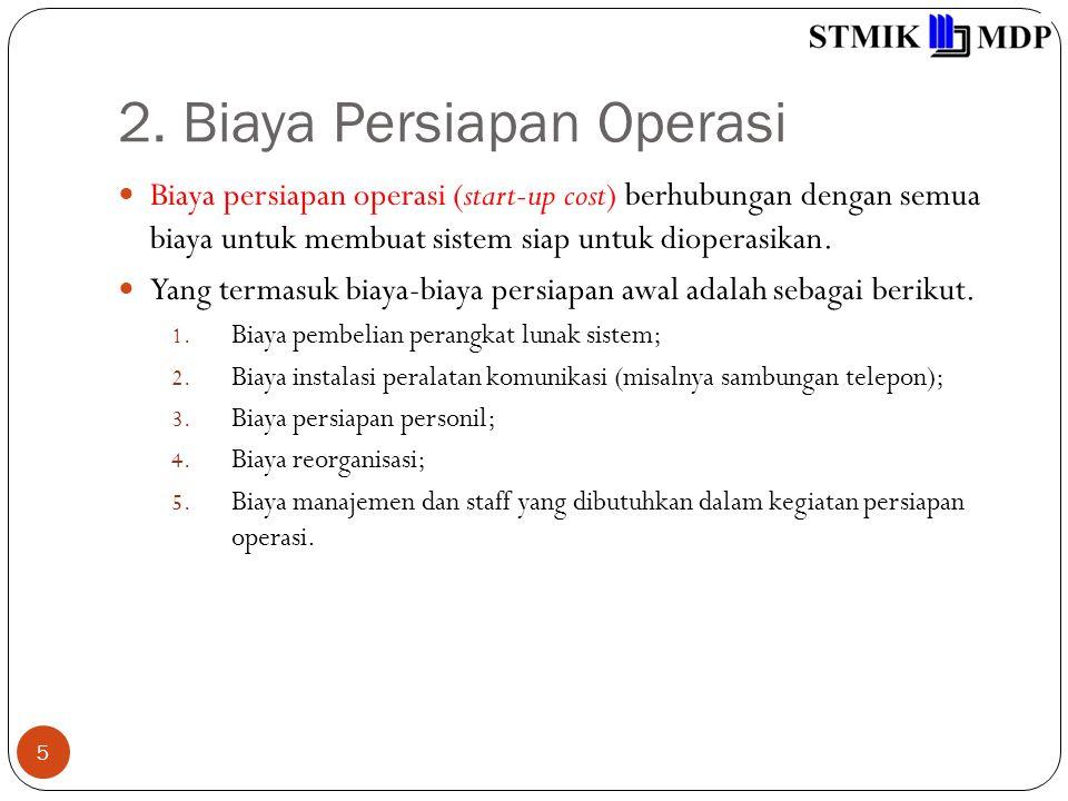 2. Biaya Persiapan Operasi 5 Biaya persiapan operasi (start-up cost) berhubungan dengan semua biaya untuk membuat sistem siap untuk dioperasikan. Yang