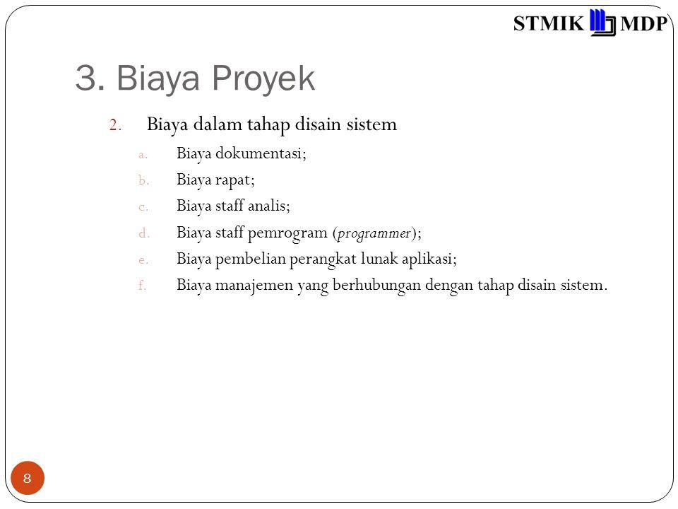 3. Biaya Proyek 8 2. Biaya dalam tahap disain sistem a. Biaya dokumentasi; b. Biaya rapat; c. Biaya staff analis; d. Biaya staff pemrogram (programmer