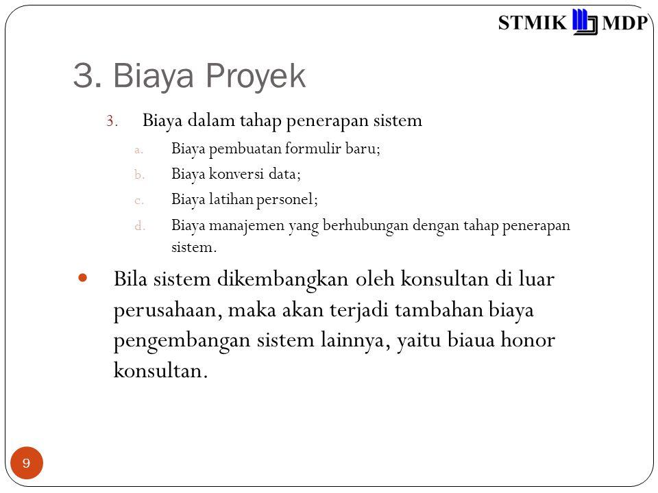 3. Biaya Proyek 9 3. Biaya dalam tahap penerapan sistem a. Biaya pembuatan formulir baru; b. Biaya konversi data; c. Biaya latihan personel; d. Biaya