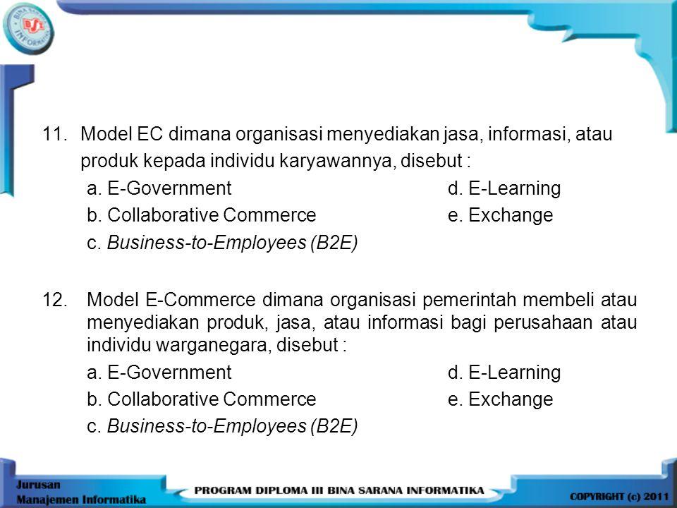 13.Bursa elektronik untuk umum yang beranggotakan banyak pembeli dan penjual, disebut a.