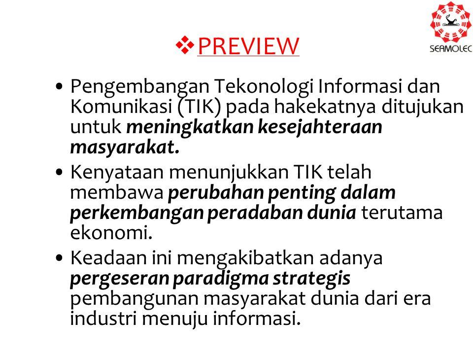  PREVIEW Pengembangan Tekonologi Informasi dan Komunikasi (TIK) pada hakekatnya ditujukan untuk meningkatkan kesejahteraan masyarakat. Kenyataan menu