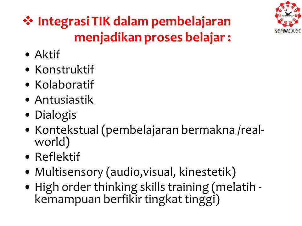  Integrasi TIK dalam pembelajaran menjadikan proses belajar : Aktif Konstruktif Kolaboratif Antusiastik Dialogis Kontekstual (pembelajaran bermakna /real- world) Reflektif Multisensory (audio,visual, kinestetik) High order thinking skills training (melatih - kemampuan berfikir tingkat tinggi)
