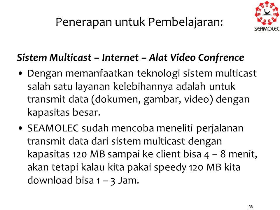Penerapan untuk Pembelajaran: Sistem Multicast – Internet – Alat Video Confrence Dengan memanfaatkan teknologi sistem multicast salah satu layanan kel