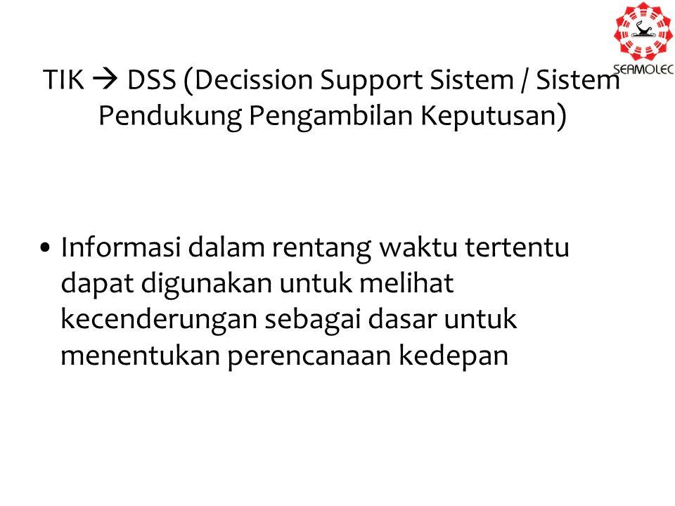 TIK  DSS (Decission Support Sistem / Sistem Pendukung Pengambilan Keputusan) Informasi dalam rentang waktu tertentu dapat digunakan untuk melihat kec