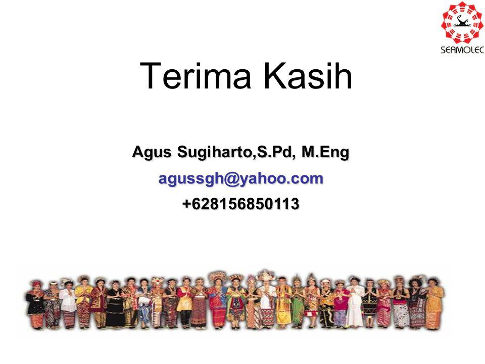 Terima Kasih Agus Sugiharto,S.Pd, M.Eng agussgh@yahoo.com+628156850113