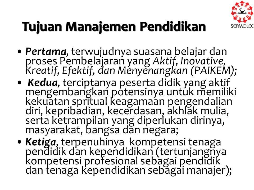 Keempat, tercapainya tujuan pendidikan secara efektif dan efisien; Kelima, terbekalinya tenaga kependidikan dengan teori tentang proses dan tugas administrasi pendidikan (tertunjangnya profesi sebagai manajer pendidikan atau konsultan manajemen pendidikan); Keenam, teratasinya masalah mutu pendidikan.(Husaini, 2006:8)
