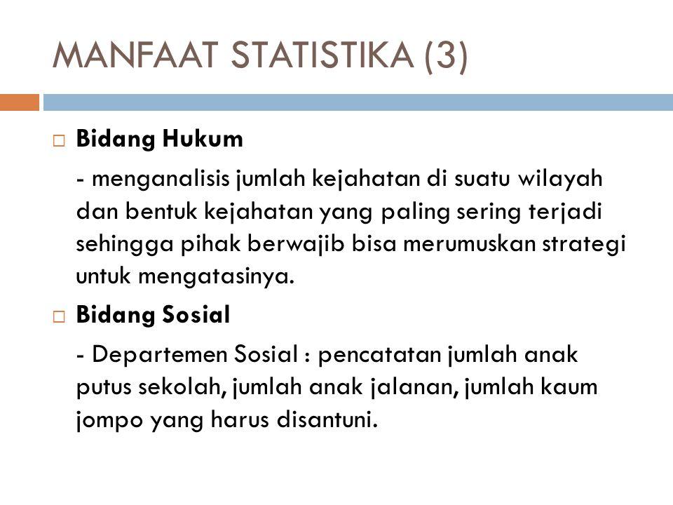 MANFAAT STATISTIKA (4)  Bidang Perdagangan/Perusahaan - Pencatatan jumlah produk yang bagus dan rusak dalam kurun waktu tertentu, perhitungan batas jumlah kecacatan produk dalam satu periode.