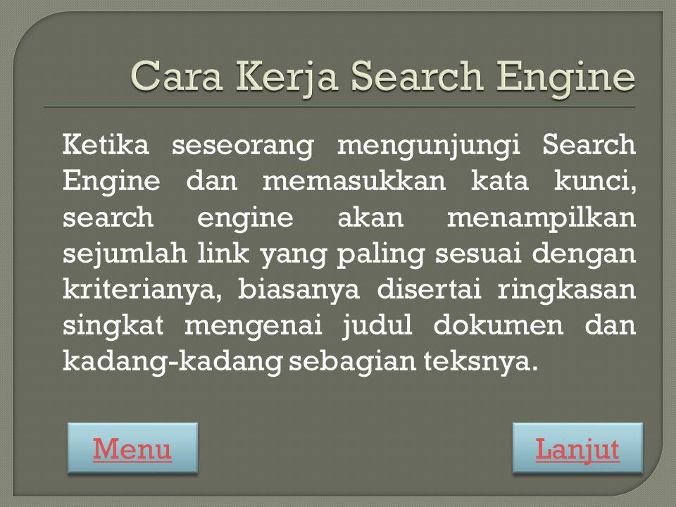 Ketika seseorang mengunjungi Search Engine dan memasukkan kata kunci, search engine akan menampilkan sejumlah link yang paling sesuai dengan kriterianya, biasanya disertai ringkasan singkat mengenai judul dokumen dan kadang-kadang sebagian teksnya.