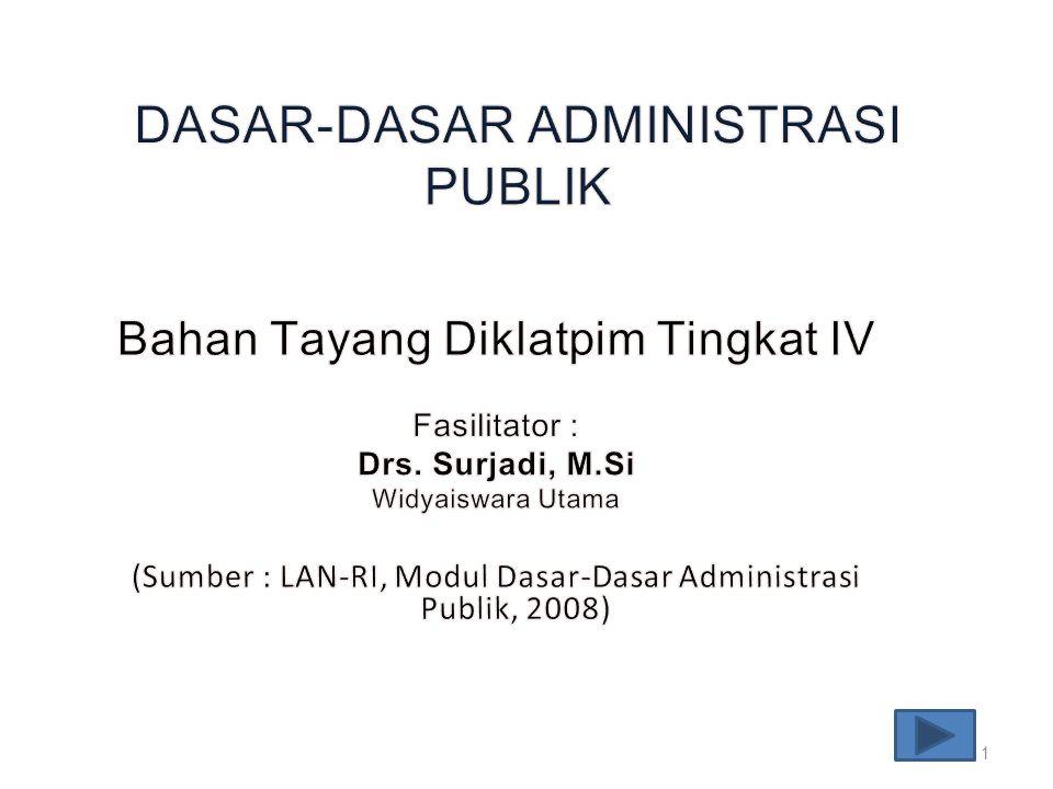 Mata Diklat ini membahas tentang Administrasi publik, meliputi: 1.