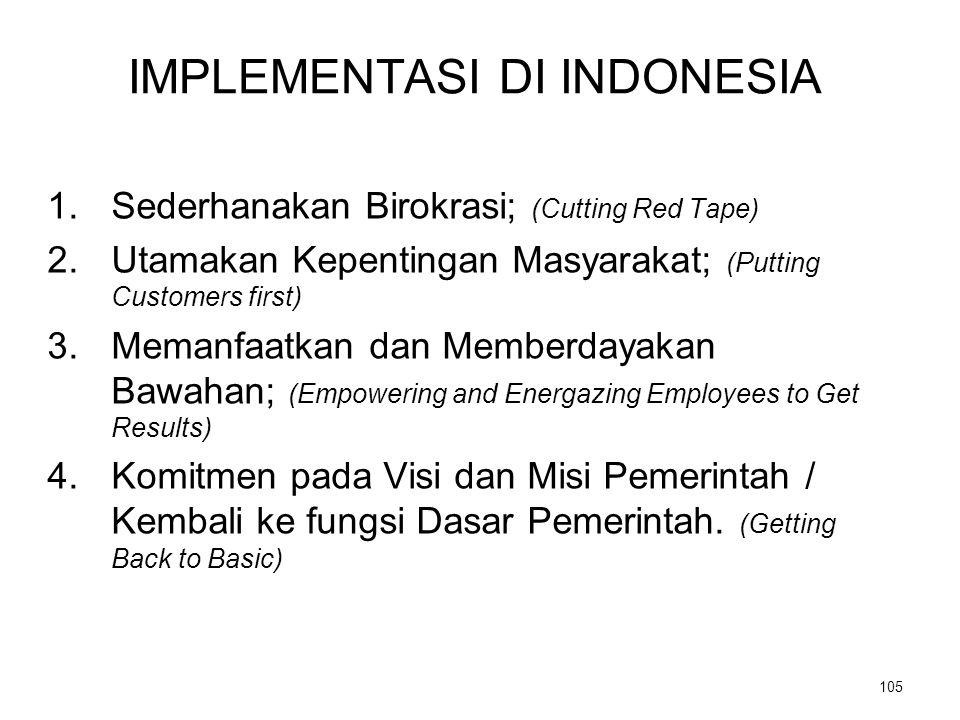 IMPLEMENTASI DI INDONESIA 1.Sederhanakan Birokrasi; (Cutting Red Tape) 2.Utamakan Kepentingan Masyarakat; (Putting Customers first) 3.Memanfaatkan dan