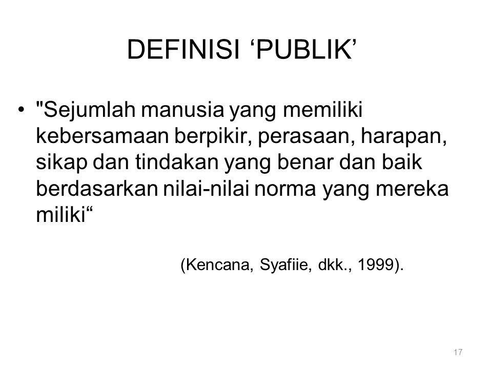DEFINISI 'PUBLIK'
