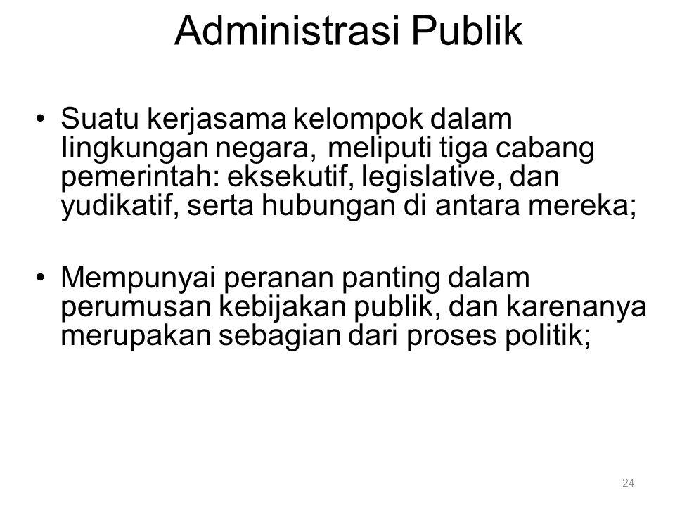 Administrasi Publik Suatu kerjasama kelompok dalam Iingkungan negara, meliputi tiga cabang pemerintah: eksekutif, legislative, dan yudikatif, serta hu