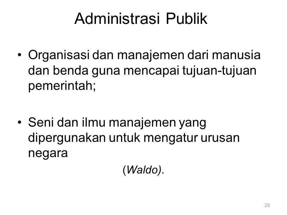 Administrasi Publik Organisasi dan manajemen dari manusia dan benda guna mencapai tujuan-tujuan pemerintah; Seni dan ilmu manajemen yang dipergunakan