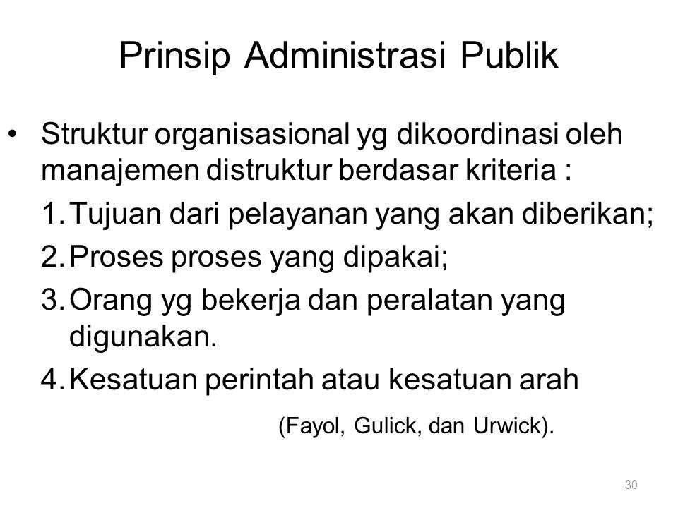 Prinsip Administrasi Publik Struktur organisasional yg dikoordinasi oleh manajemen distruktur berdasar kriteria : 1.Tujuan dari pelayanan yang akan di