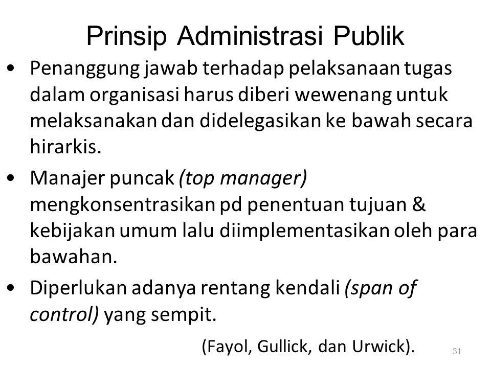 Prinsip Administrasi Publik Penanggung jawab terhadap pelaksanaan tugas dalam organisasi harus diberi wewenang untuk melaksanakan dan didelegasikan ke