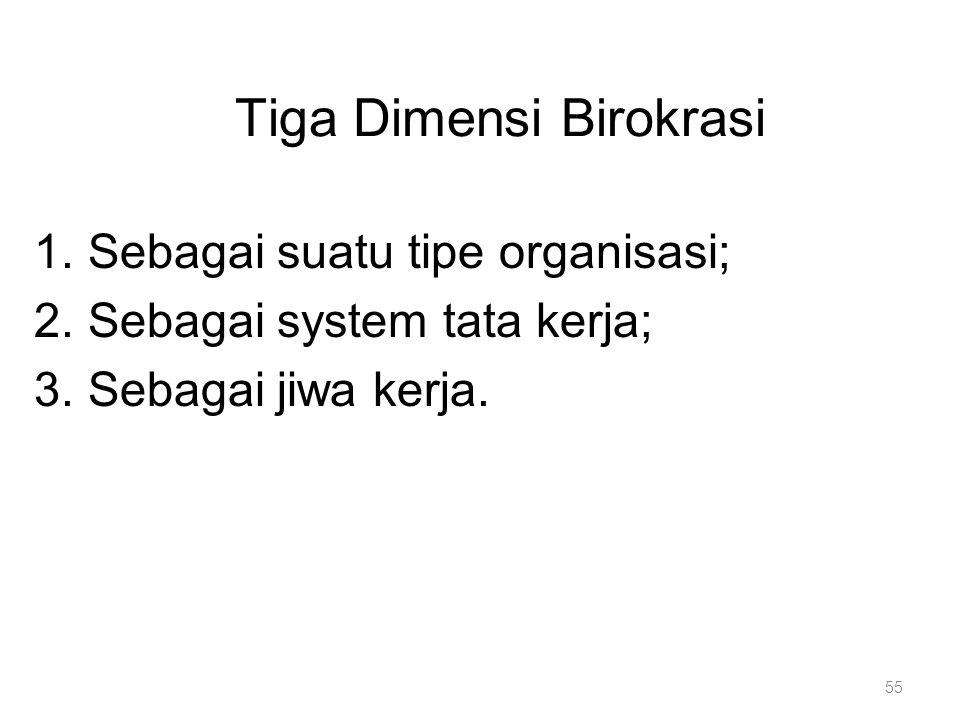 1.Sebagai suatu tipe organisasi; 2.Sebagai system tata kerja; 3.Sebagai jiwa kerja. Tiga Dimensi Birokrasi 55