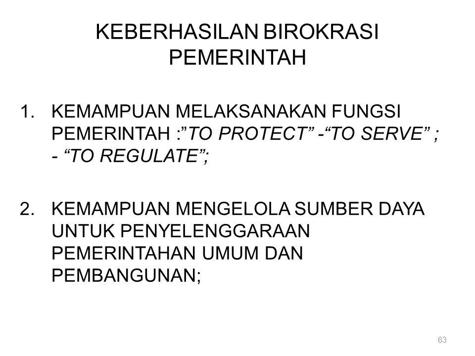 """KEBERHASILAN BIROKRASI PEMERINTAH 1.KEMAMPUAN MELAKSANAKAN FUNGSI PEMERINTAH :""""TO PROTECT"""" -""""TO SERVE"""" ; - """"TO REGULATE""""; 2.KEMAMPUAN MENGELOLA SUMBER"""