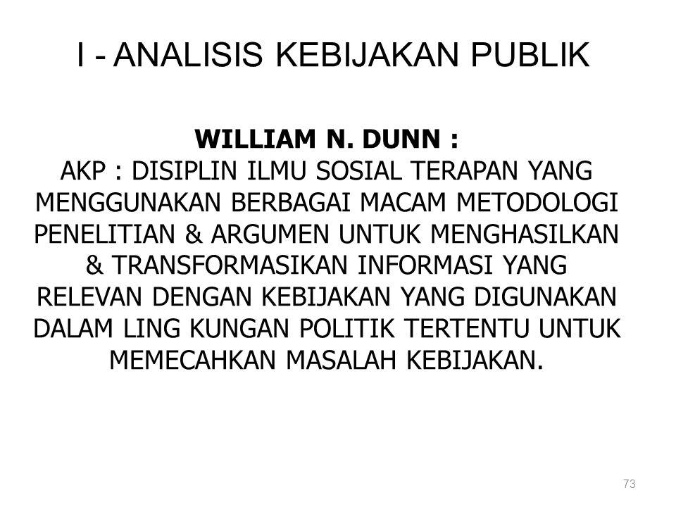 73 I - ANALISIS KEBIJAKAN PUBLIK WILLIAM N. DUNN : AKP : DISIPLIN ILMU SOSIAL TERAPAN YANG MENGGUNAKAN BERBAGAI MACAM METODOLOGI PENELITIAN & ARGUMEN