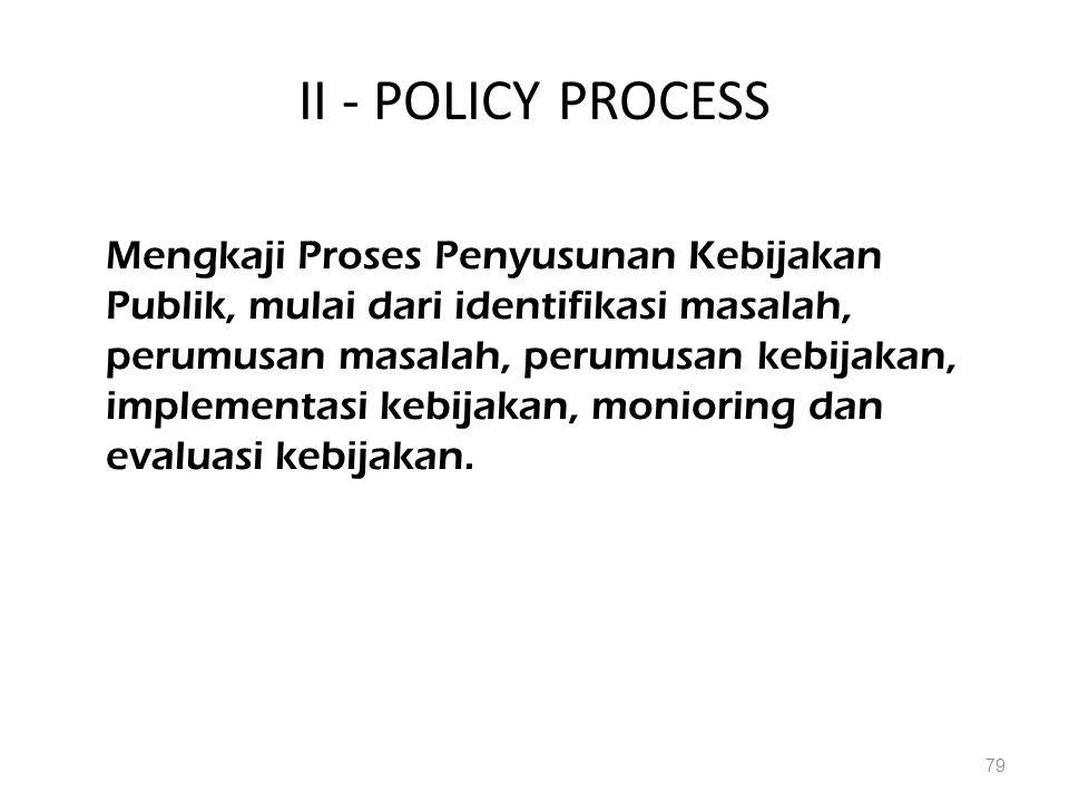 II - POLICY PROCESS Mengkaji Proses Penyusunan Kebijakan Publik, mulai dari identifikasi masalah, perumusan masalah, perumusan kebijakan, implementasi