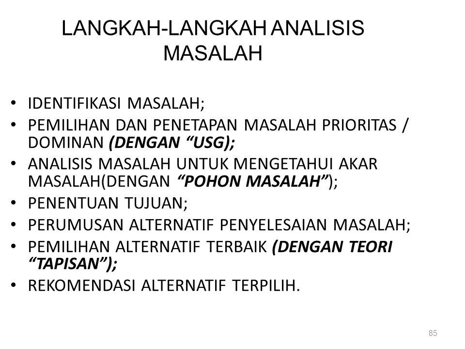 """LANGKAH-LANGKAH ANALISIS MASALAH IDENTIFIKASI MASALAH; PEMILIHAN DAN PENETAPAN MASALAH PRIORITAS / DOMINAN (DENGAN """"USG); ANALISIS MASALAH UNTUK MENGE"""