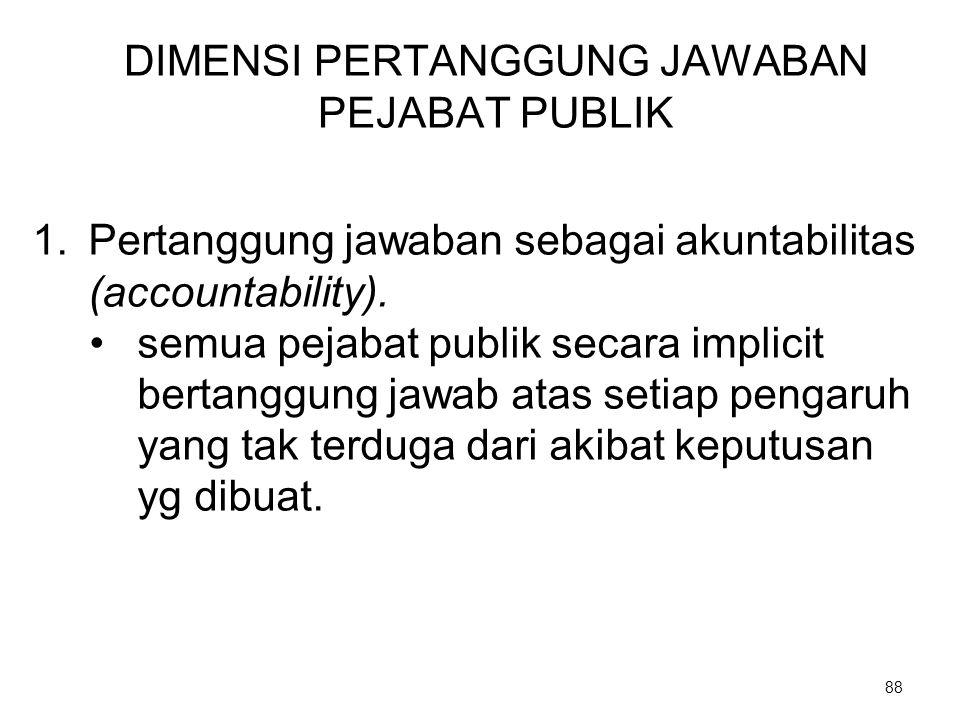 DIMENSI PERTANGGUNG JAWABAN PEJABAT PUBLIK 1.Pertanggung jawaban sebagai akuntabilitas (accountability). semua pejabat publik secara implicit bertangg