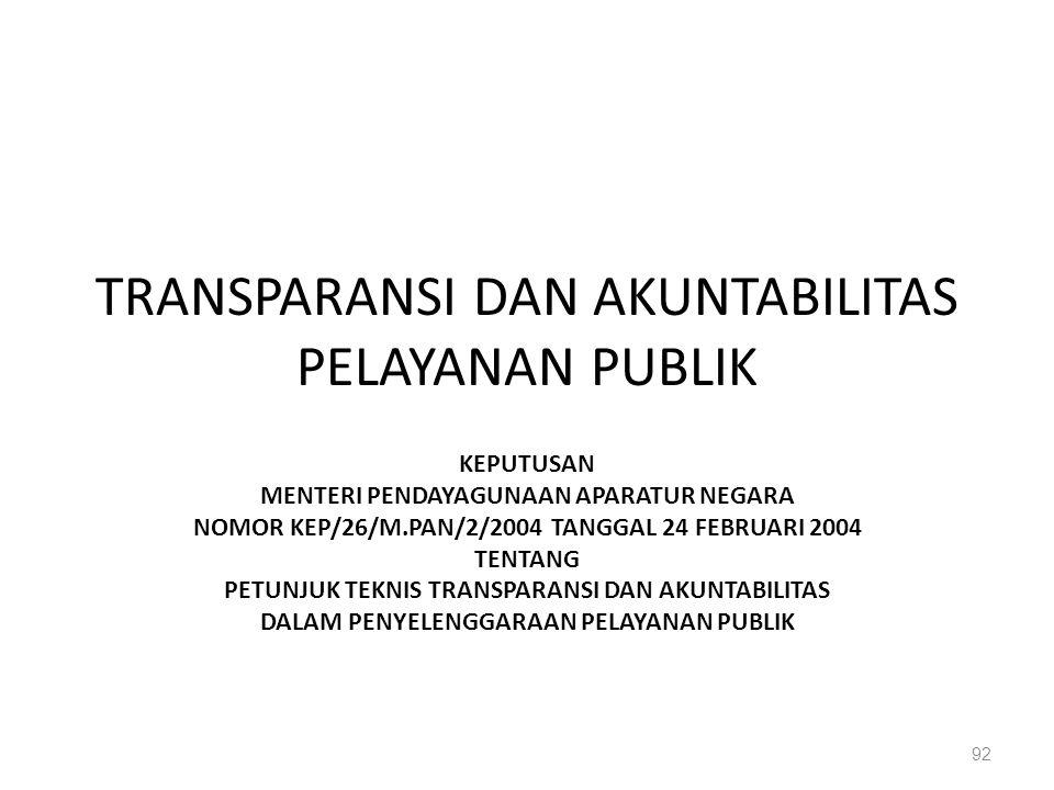 TRANSPARANSI DAN AKUNTABILITAS PELAYANAN PUBLIK KEPUTUSAN MENTERI PENDAYAGUNAAN APARATUR NEGARA NOMOR KEP/26/M.PAN/2/2004 TANGGAL 24 FEBRUARI 2004 TEN