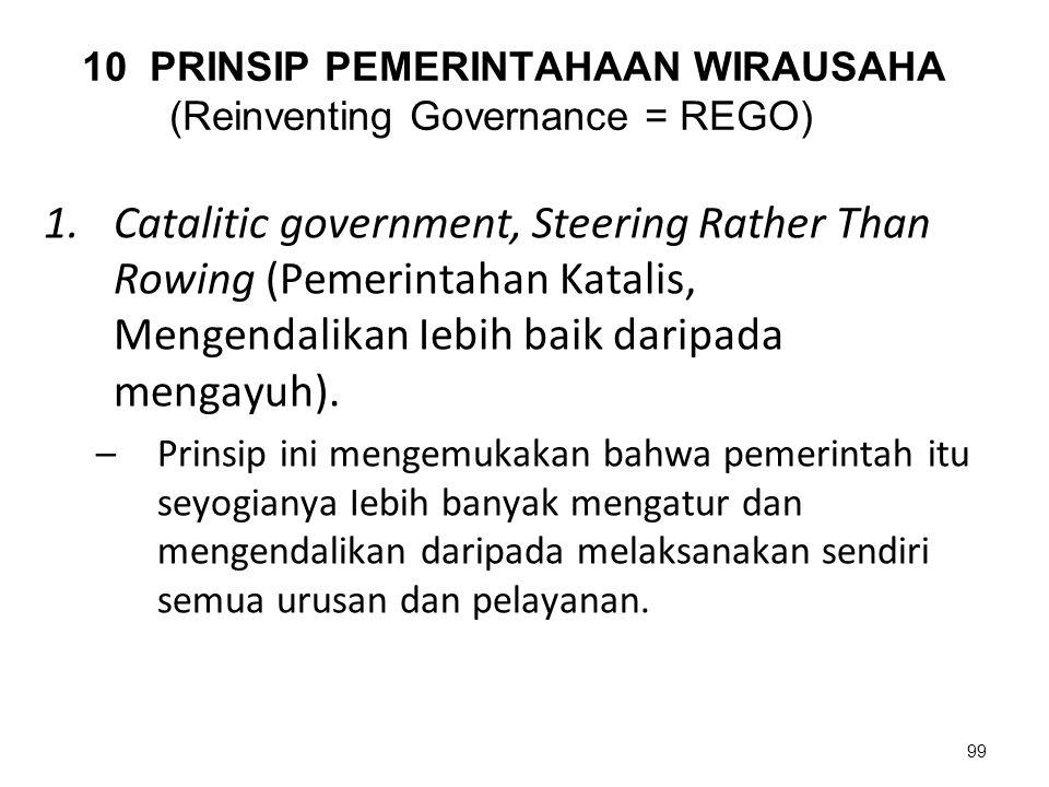 10 PRINSIP PEMERINTAHAAN WIRAUSAHA (Reinventing Governance = REGO) 1.Catalitic government, Steering Rather Than Rowing (Pemerintahan Katalis, Mengenda