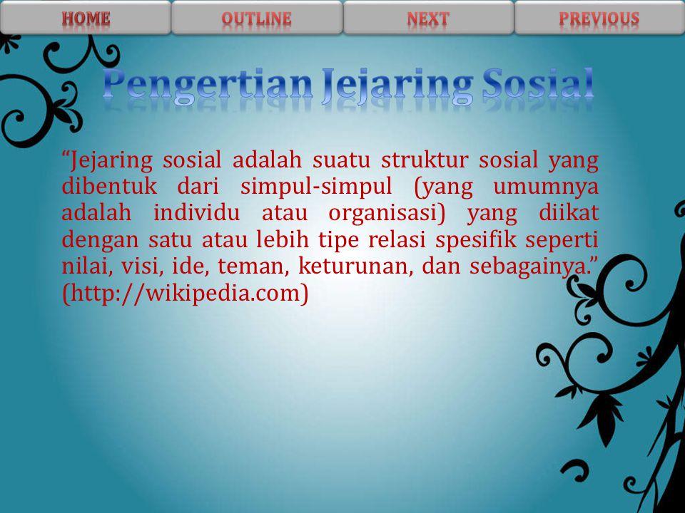 """""""Jejaring sosial adalah suatu struktur sosial yang dibentuk dari simpul-simpul (yang umumnya adalah individu atau organisasi) yang diikat dengan satu"""