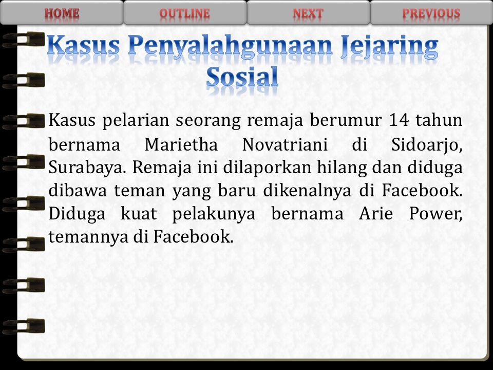 Kasus pelarian seorang remaja berumur 14 tahun bernama Marietha Novatriani di Sidoarjo, Surabaya. Remaja ini dilaporkan hilang dan diduga dibawa teman