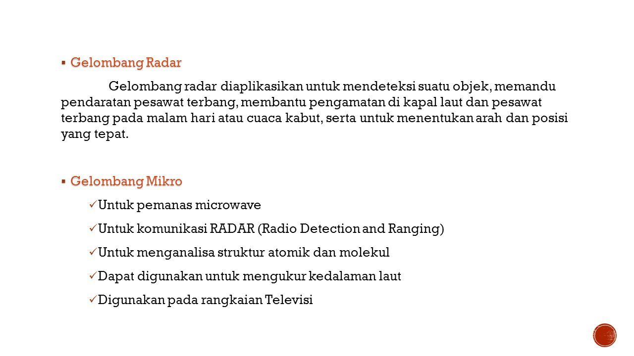  Gelombang Radar Gelombang radar diaplikasikan untuk mendeteksi suatu objek, memandu pendaratan pesawat terbang, membantu pengamatan di kapal laut da