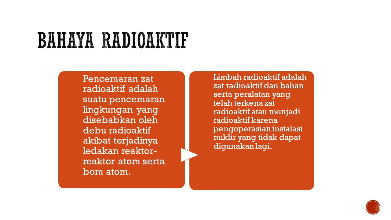 Pencemaran zat radioaktif adalah suatu pencemaran lingkungan yang disebabkan oleh debu radioaktif akibat terjadinya ledakan reaktor- reaktor atom serta bom atom.