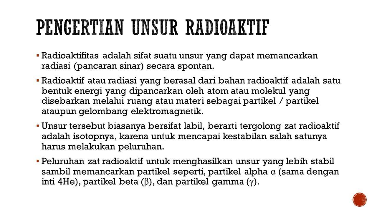  Radioaktifitas adalah sifat suatu unsur yang dapat memancarkan radiasi (pancaran sinar) secara spontan.  Radioaktif atau radiasi yang berasal dari