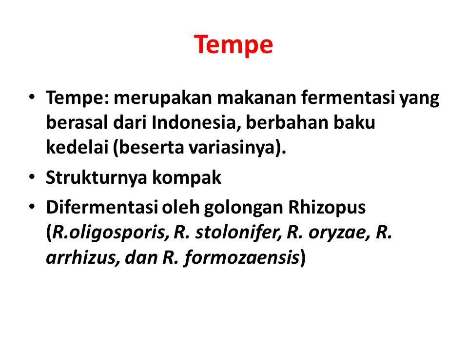 Tempe: merupakan makanan fermentasi yang berasal dari Indonesia, berbahan baku kedelai (beserta variasinya).