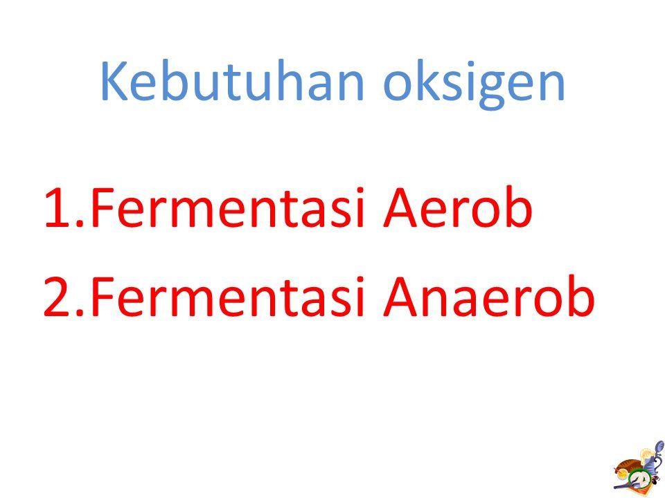 Kebutuhan oksigen 1.Fermentasi Aerob 2.Fermentasi Anaerob