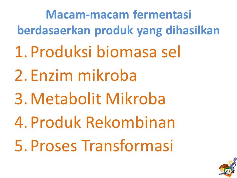 Macam-macam fermentasi berdasaerkan produk yang dihasilkan 1.Produksi biomasa sel 2.Enzim mikroba 3.Metabolit Mikroba 4.Produk Rekombinan 5.Proses Transformasi