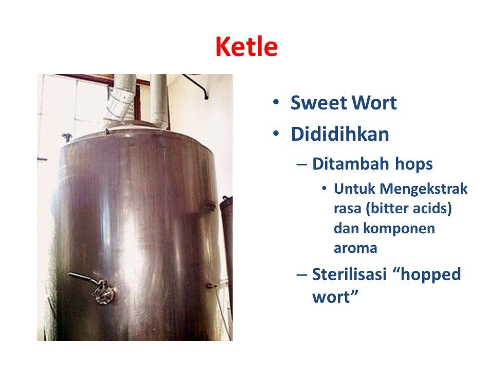 Ketle Sweet Wort Dididihkan – Ditambah hops Untuk Mengekstrak rasa (bitter acids) dan komponen aroma – Sterilisasi hopped wort